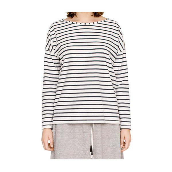 Long sleeved Breton style stripe top in organic cotton