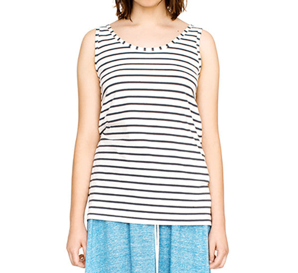 Sleeveless Breton style stripe top in organic cotton