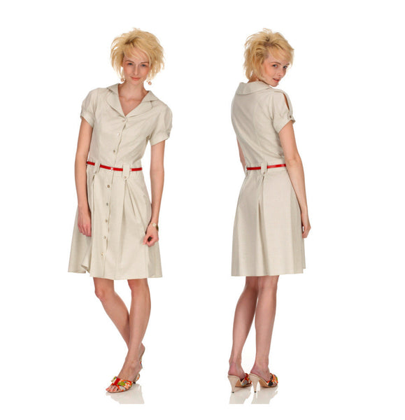 Ethical Fashion by Outsider. Sustainable Fashion using Natural Fabrics - Shirt Dress made from Organic Fair trade cotton or Natural Colour Cotton