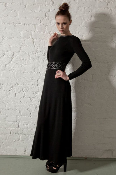 Ethical Fashion by Outsider. Sustainable Fashion using Natural Fabrics - Dress made from Merino Wool Black