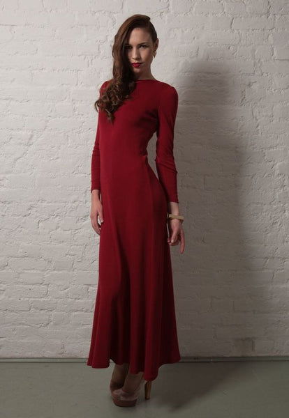 Ethical Fashion by Outsider. Sustainable Fashion using Natural Fabrics - Dress made from Merino Wool - Red