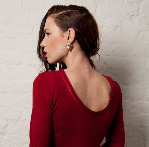 Ethical Fashion by Outsider. Sustainable Fashion using Natural Fabrics - Dress made from Merino Wool - Red 1