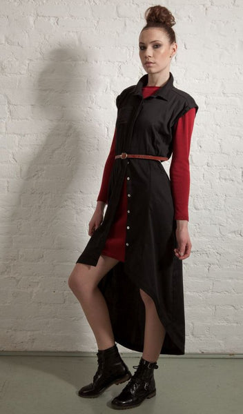 Ethical Fashion by Outsider. Sustainable Fashion using Natural Fabrics - Mini Dress made from 100% Merino Wool - Red2