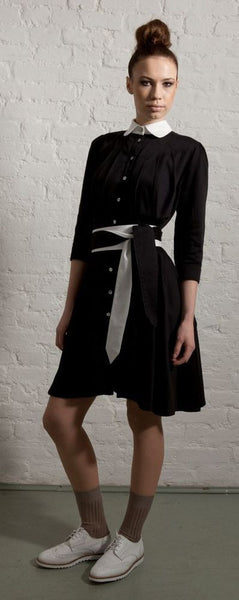 Ethical Fashion by Outsider. Sustainable Fashion using Natural Fabrics - SHIRT DRESS made from Organic Cotton - In Black