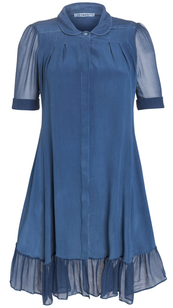 Ethical Fashion by Outsider. Sustainable Fashion using Natural Fabrics - SHIRT DRESS made from silk Blue