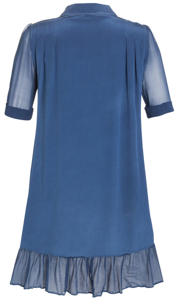 Ethical Fashion by Outsider. Sustainable Fashion using Natural Fabrics - SHIRT DRESS made from silk in Blue1