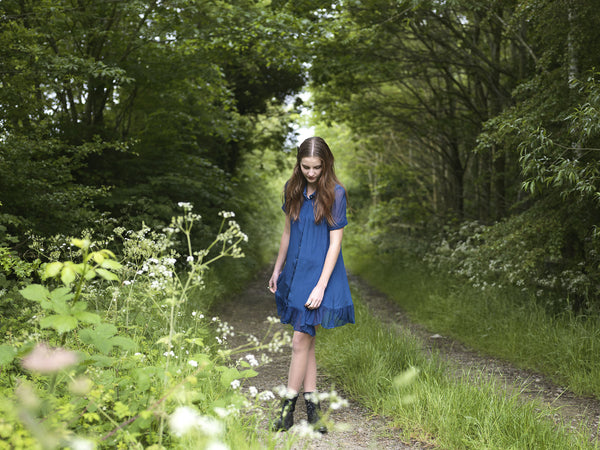 Ethical Fashion by Outsider. Sustainable Fashion using Natural Fabrics - SHIRT DRESS made from silk - In Blue