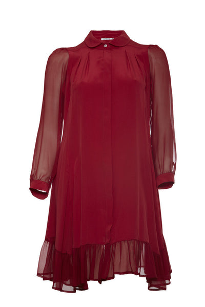 Ethical Fashion by Outsider. Sustainable Fashion using Natural Fabrics - SHIRT DRESS made from silk - in Red