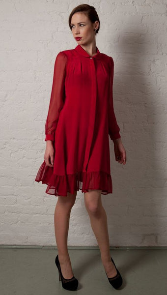 Ethical Fashion by Outsider. Sustainable Fashion using Natural Fabrics - SHIRT DRESS made from silk in Red