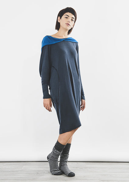 Outsider hoodie dress merino wool in steel grey with teal