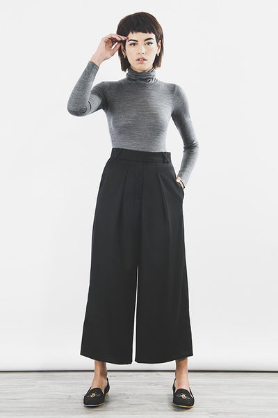Turtle neck body merino wool tencel in steel grey