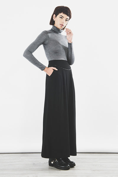 Outsider merino wool maxi skirt in black