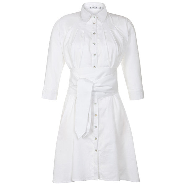 Outsider shirt dress with obi belt in white