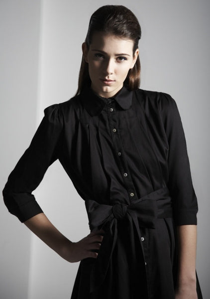 Ethical Fashion by Outsider. Sustainable Fashion using Natural Fabrics - Shirt Dress made from Organic Cotton - In Black1