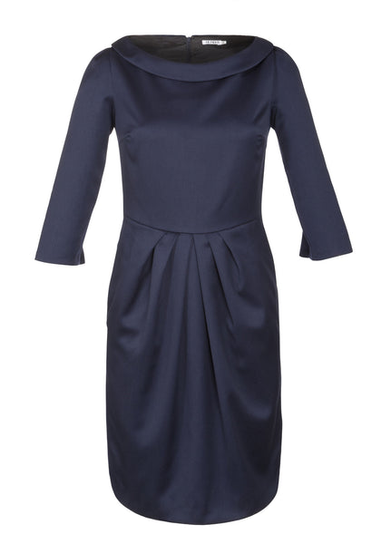 Ethical Fashion by Outsider. Sustainable Fashion using Natural Fabrics - Dress made from Merino Wool in Navy