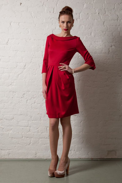 Ethical Fashion by Outsider. Sustainable Fashion using Natural Fabrics - Dress made from Merino Wool in Red 3