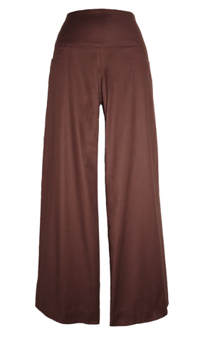 COCONUT BROWN CLASSIC PANTS in stretch cotton.