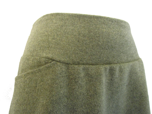 Wool Cashmere Aline Skirt in Moss Green