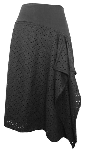 Wool Waterfall Skirt in Charcoal Grey Wool Lace