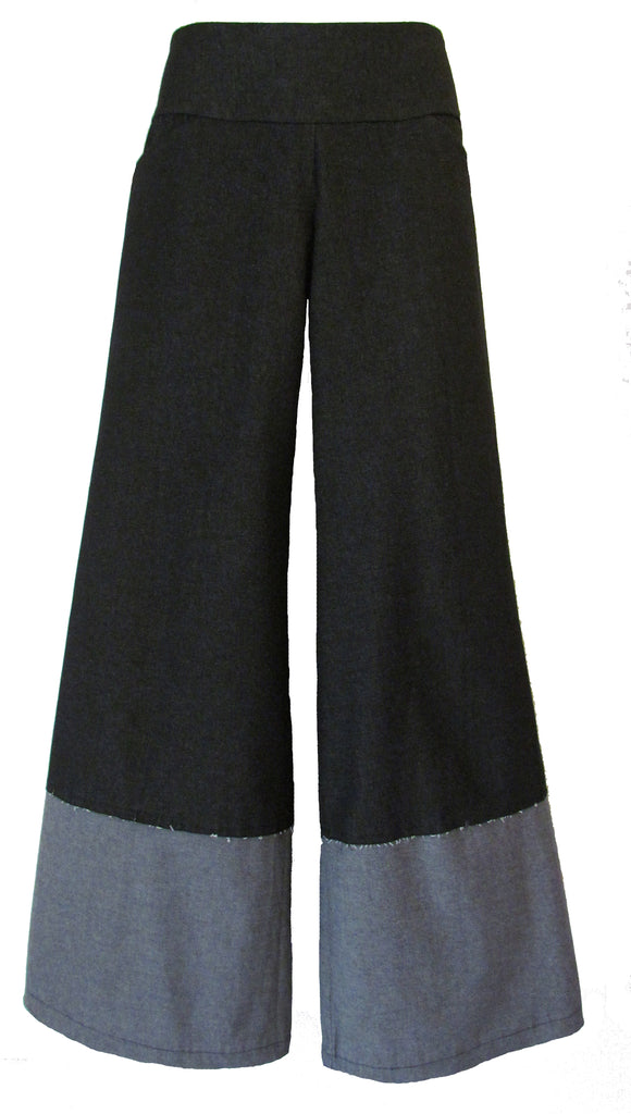 DENIM BLACK OR BLUE WIDE LEG PANTS WITH INSIDE OUT HEM