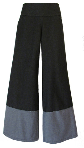 DENIM - BLUE WIDE LEG PANTS with INSIDE-OUT HEM