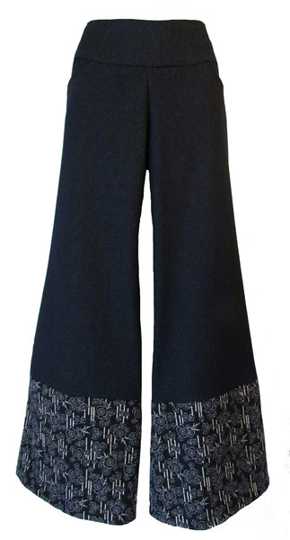 DENIM BLUE WIDE LEG PANTS WITH BLOSSOM HEM