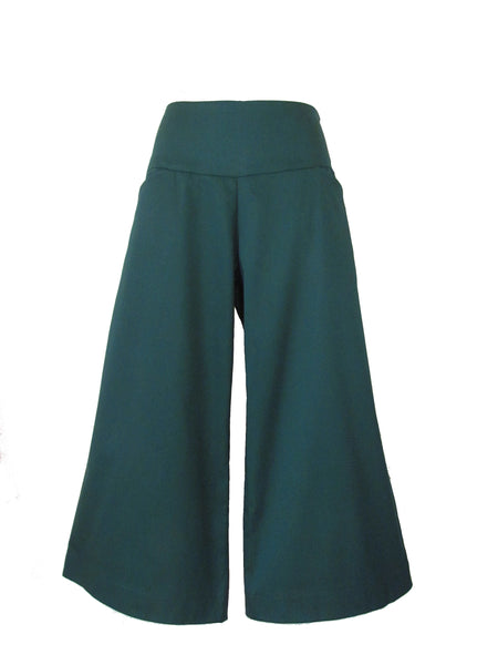 GREEN SUMMER CROPPED wide leg pants