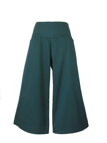 FOREST GREEN CROPPED wide leg pants