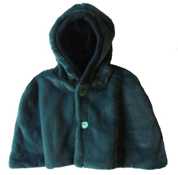 HOODED FUR CAPE - in DARK SAPPHIRE GREEN