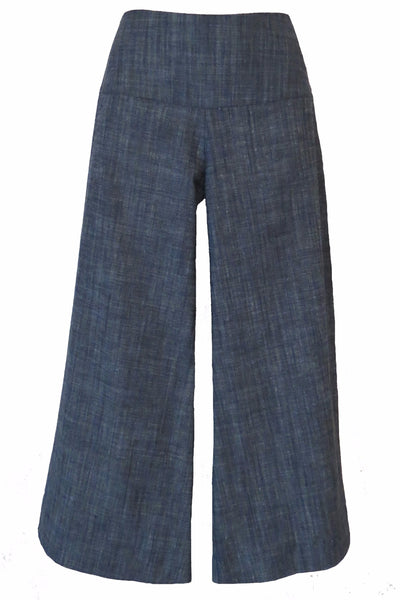 DENIM 7/8ths WIDE LEG PANTS - LIGHT BLUE