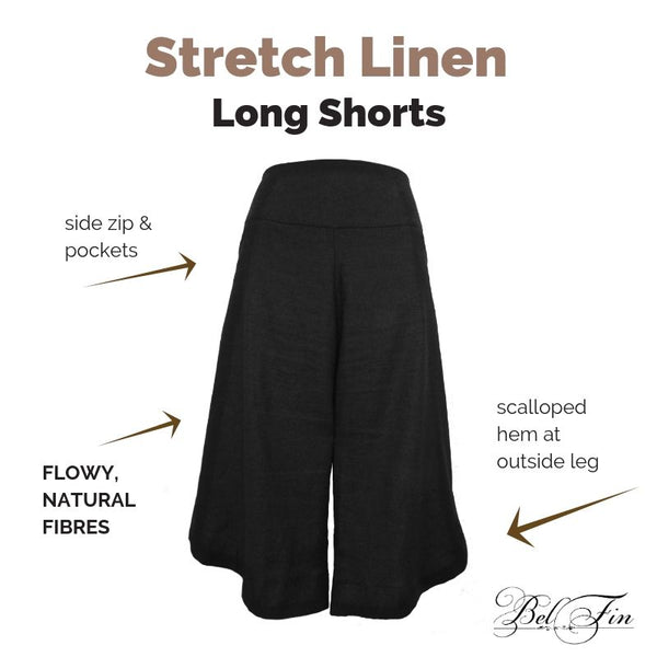 STRETCH LINEN SHORT - Curved Hem - 3 COLOURS