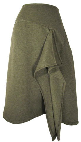 Wool Cashmere Waterfall Skirt in Moss Green
