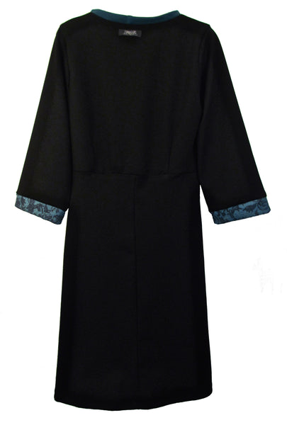 SHAPED SHIFT DRESS - TEAL & BLACK