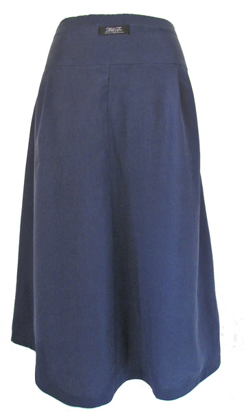 FULL MIDI SKIRT - LINEN TENCEL - SMOKEY BLUE