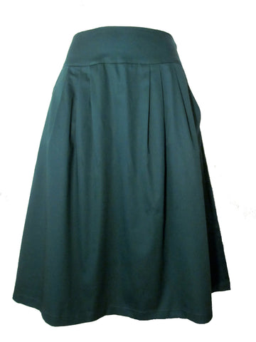 FULL MIDI SKIRT - Cotton - DARK GREEN