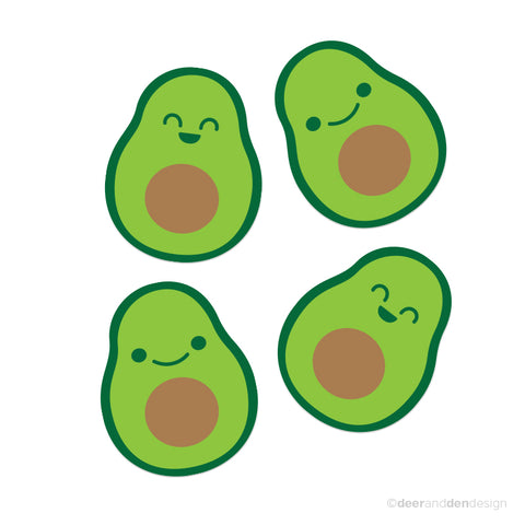 designer vinyl food series - Avocados (Set of 4)