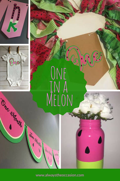 Watermelon party, one in a melon, watermelon decor, watermelon mason jar, watermelon banner, summer party