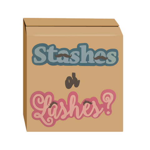 Stashes or Lashes Gender Reveal Box