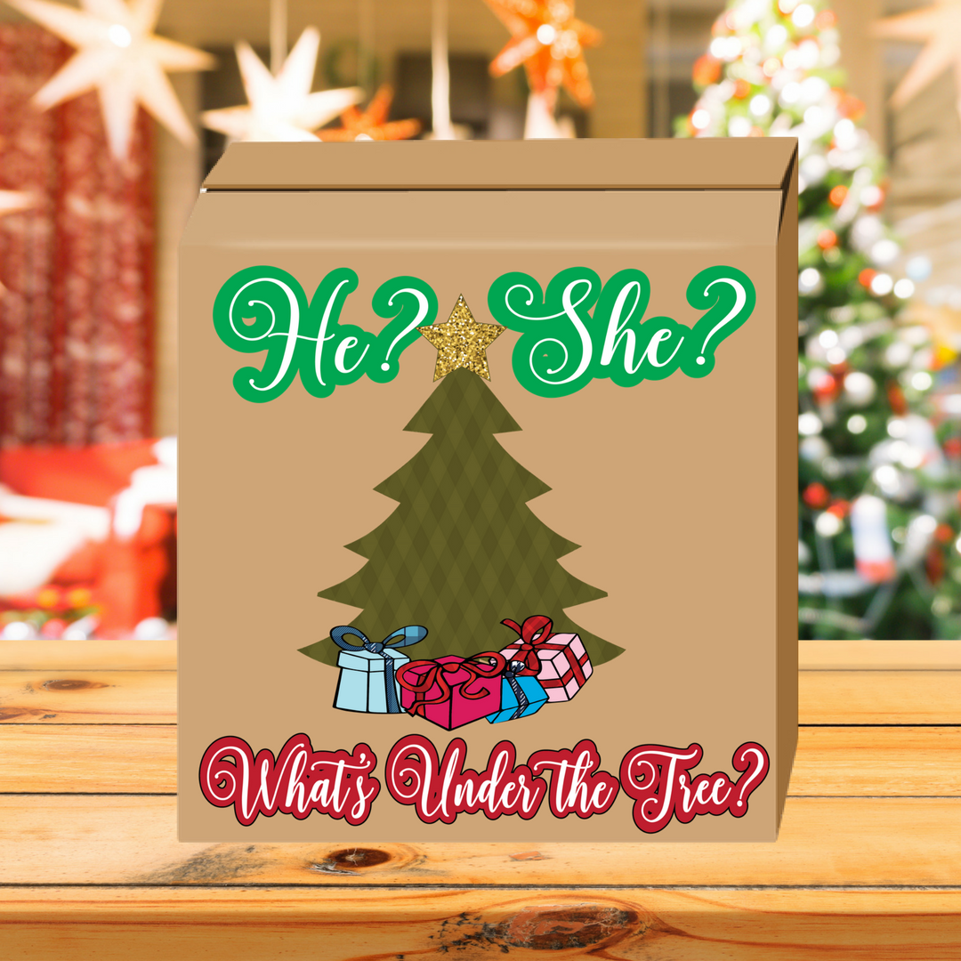Christmas Gender Reveal Theme.What S Under The Tree Gender Reveal Box