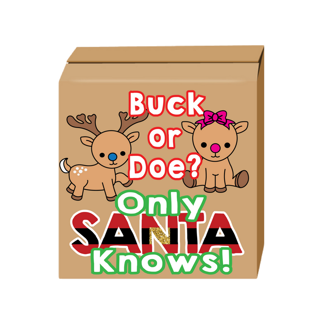 Buck or doe gender reveal box santa gender reveal party