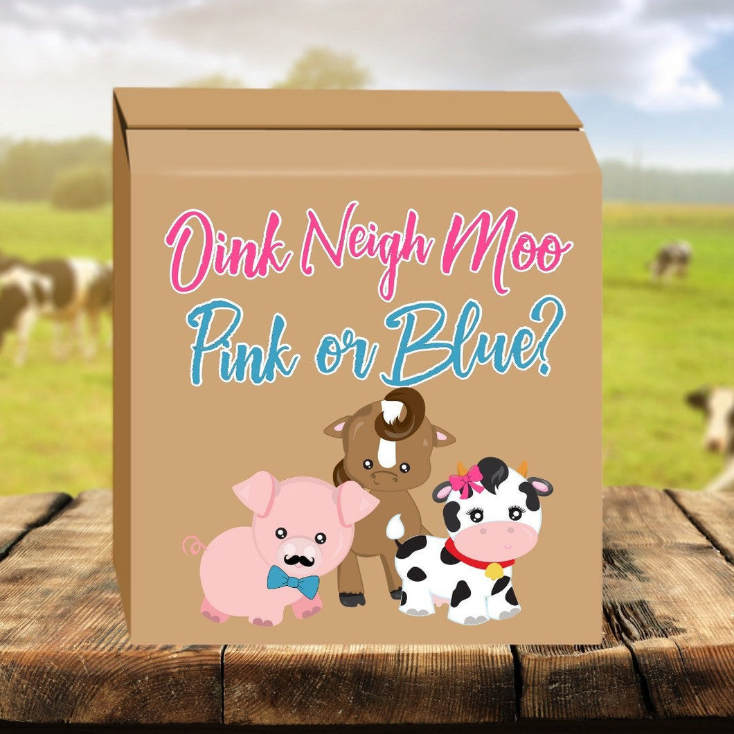 Oink Neigh Moo, Pink or Blue gender reveal box - gender reveal party ideas - cow decor - farm animal baby reveal - pig party - barnyard baby