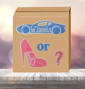 Wheels or heels gender reveal box - gender reveal party ideas - ballon box - baby reveal options - decor - trucks - high heels - race car