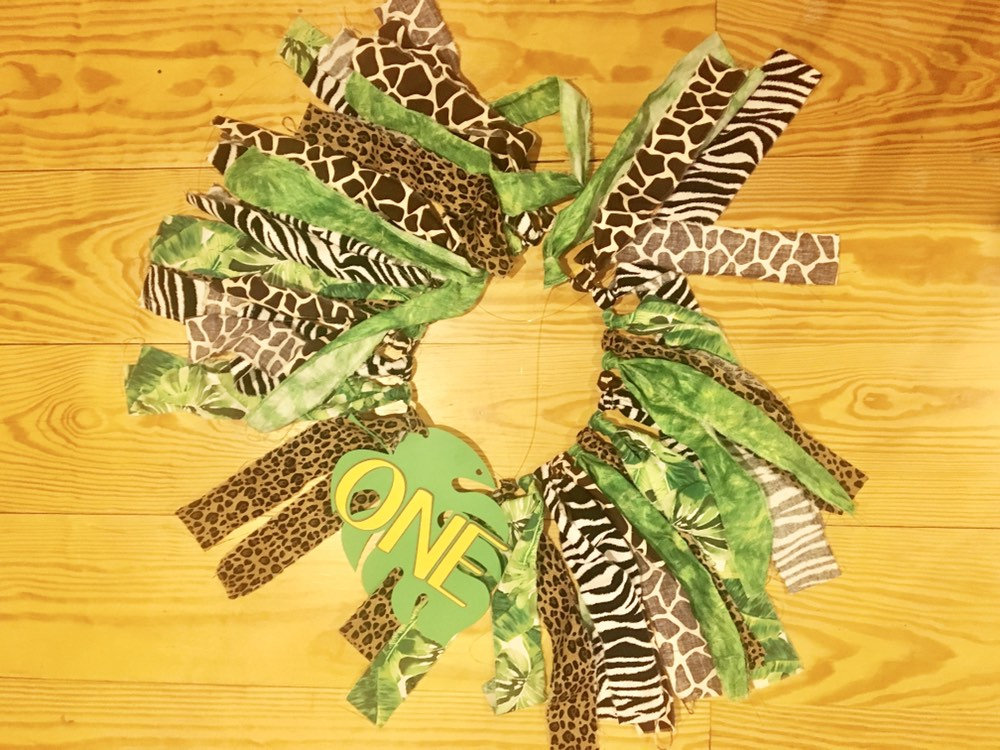 Safari high chair fabric banner- wild one first birthday - first birthday banner - two wild - zoo party decor - young wild and three party