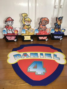 paw patrol centerpieces - chase party decor - marshall birthday - rubble - rocky - skye - zuma -