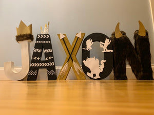 Where the wild things are letters - tribal - stand up numbers - dessert table - newborn photo shoot - forst birthday - wild one -