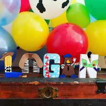 Load image into Gallery viewer, toy story letter - party decor - stand up numbers - dessert table - newborn photo shoot - buzz - woody - cloud wallpaper - personalized gift