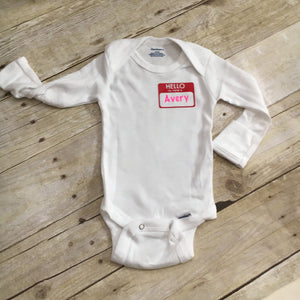Name tag baby shirt