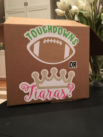 Touchdowns or Tiaras Gender reveal box