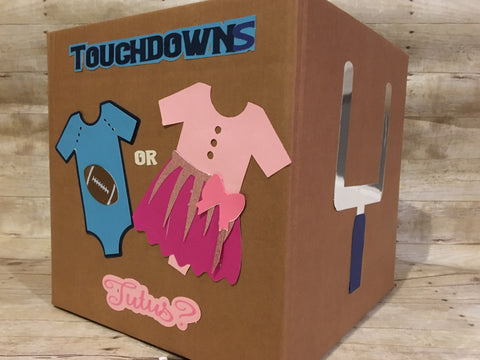 Touchdowns or Tutus Gender reveal box