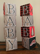 Load image into Gallery viewer, Outdoor adventure Baby Shower Block Centerpiece